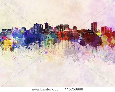 London On Skyline In Watercolor Background