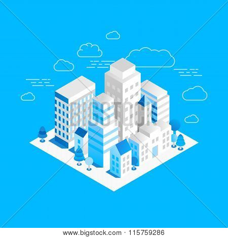 Vector City Landscape Isometric Illustration