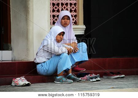 Muslim children in front of a Mosque
