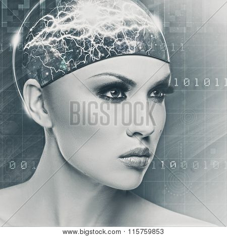 Cyborg woman abstract female portrait for your design