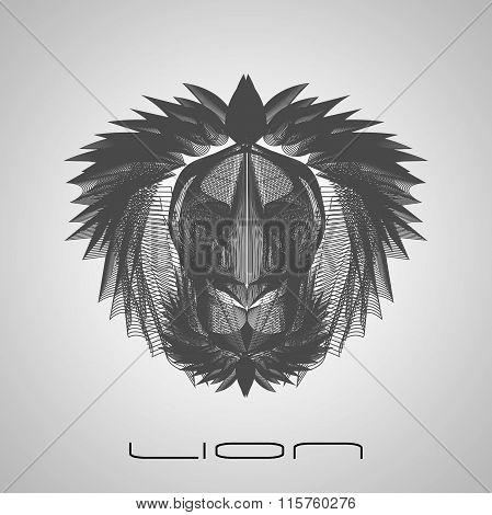 Gray Line Style Lion