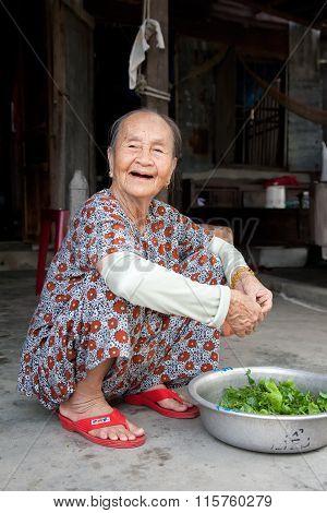 Vietnamese women is preparing food