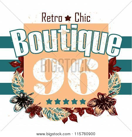 Retro Boutigue Flower And Numbers Vector Print And Slogan