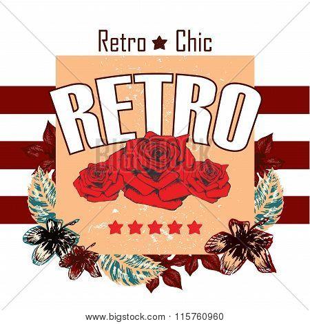Retro Boutigue Rose Vector Print And Slogan