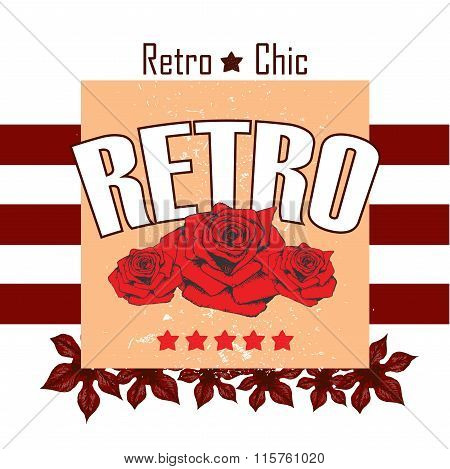 Retro Boutigue Rose Leaves Vector Print And Slogan