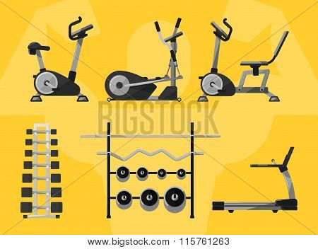 Gym equipment, Gym, gym workout. Gym interior. Fitness equipment, cardio machines, gym with exercise equipment. Treadmill icon, weights, dumbbells icon. Vectors gym icons. Bodybuilding. Gym Isolated.