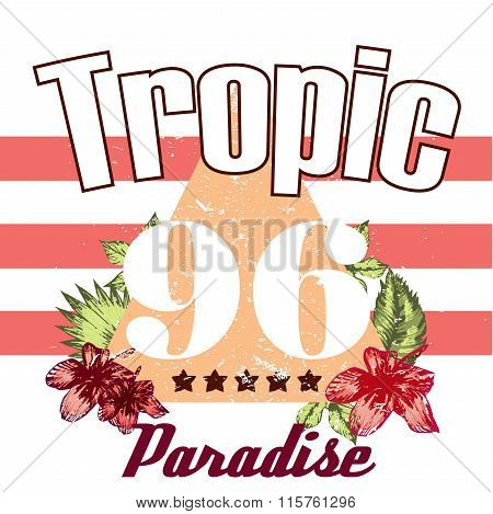 Retro Triangle Illustration Tropic Vector Print And Slogan