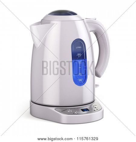 White electric kettle isolated on white. 3d