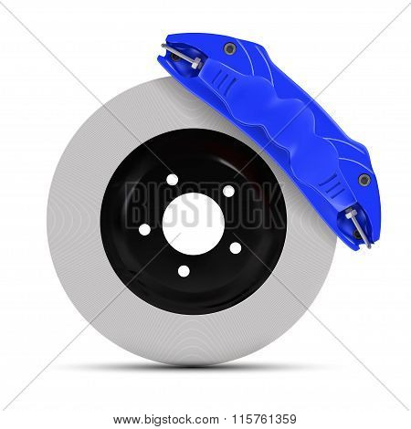 Automobile Braking System. Aeration Steel Brake Disk With Perforation And Blue Six Pistons Calipers