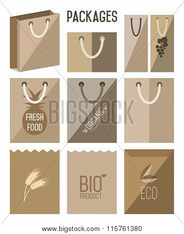 Cartons pack icons. Biodegradable bags. Ecology, Environmental Protection. Cartons icon set, vector package.