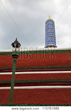 Thailand  Bangkok In    Temple Abstract Cross Colors Street Lamp