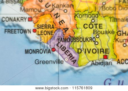 Republic Of Liberia Country Map .