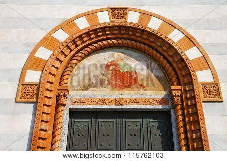Church Door    Italy  Lombardy   Jesus