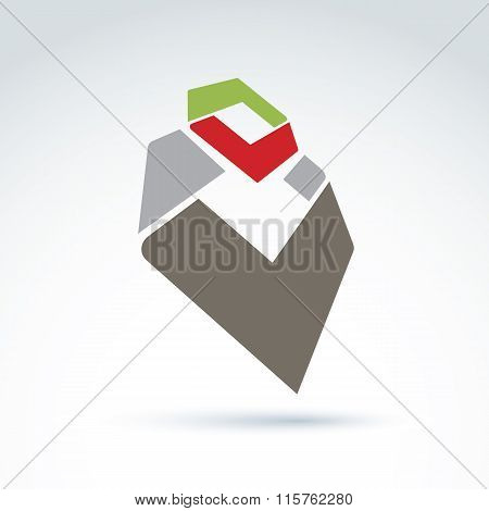 Bright Complex Geometric Corporate Element Created From Separate Parts. 3D Abstract Emblem With Chec