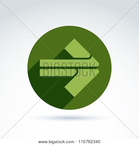 Vector Abstract Emblem With Green Arrow – Pointer. Double Direction Sign Placed In A Circle.