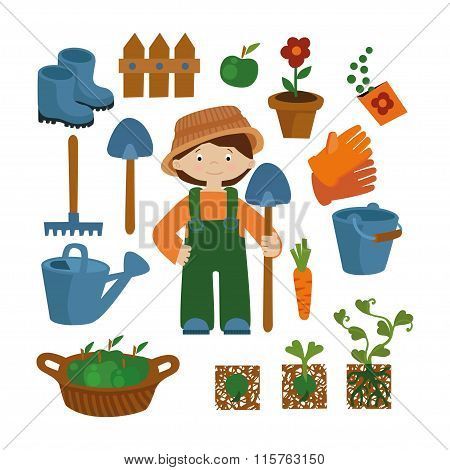 Farmer set vector icons