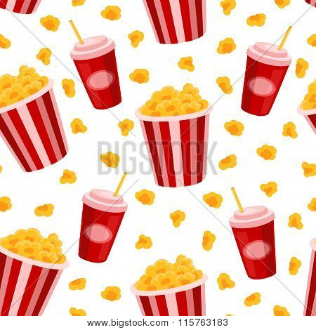 Popcorn and soda vector seamless pattern.