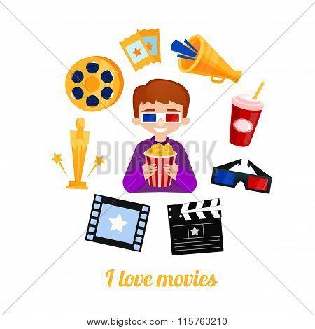 Moviegoer boy cinema icons vector set