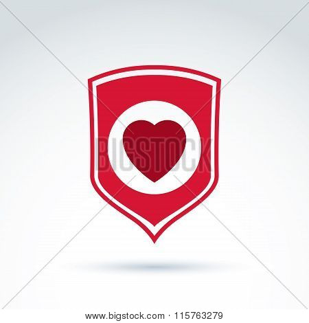 Red Heart Placed On A Shield. Vector Society Donation Symbol, Compassion And Love Sign.