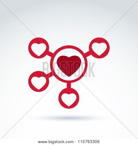 Hearts And Connections Icon, Online Dating, Vector Conceptual Stylish Symbol For Your Design.