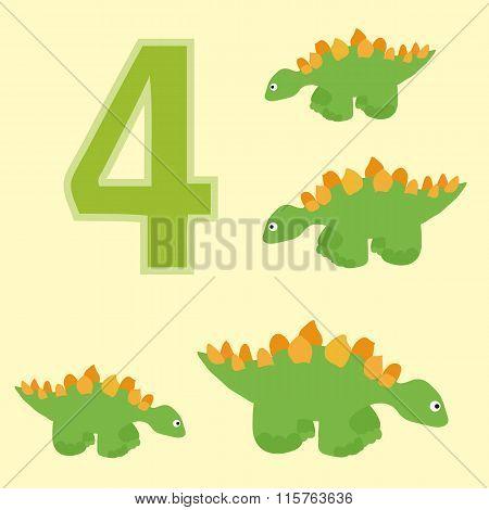 Number 4. Four Dinosaur (stegosaurus ).