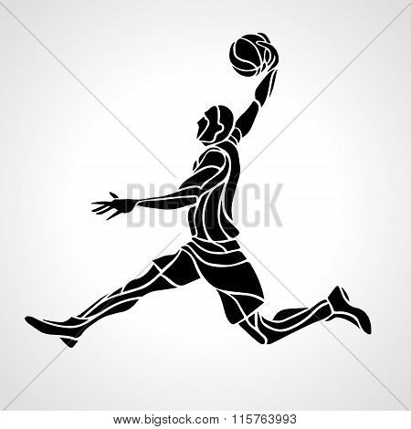 Basketball player. Slam Dunk Silhouette