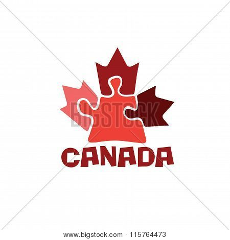 Canadian Maple Leaf On Puzzle Pieces