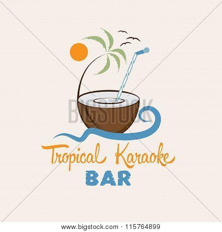Tropical Karaoke Bar Vector Design Template