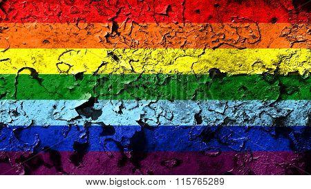 LGBT flag, rainbow flag painted on cracked paint