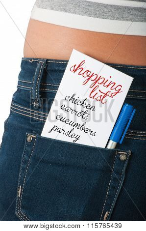 Shopping List On Back Pocket.