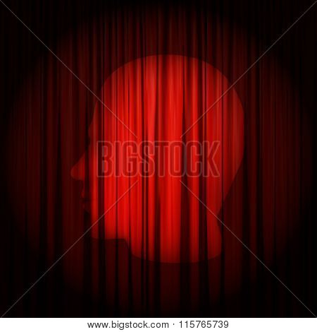 Concept Of Monologue. The Ray Of Light In Form Of Human Head Shines On The Red Curtain.