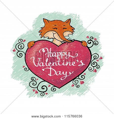 valentine card with fox. Happy valentines day