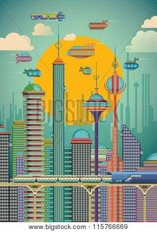 Futuristic city scene. Vector illustration.
