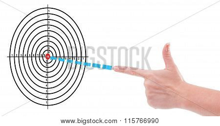 Hand Shooting To Target Concept.