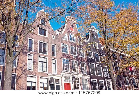 Dutch facades in Amsterdam the Netherlands in fall