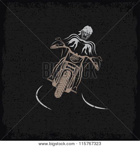 Biker Theme Grunge Label With Motorbike And Skull