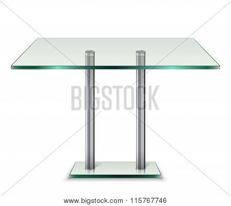 Modern Galss Table Isolated On A White Background