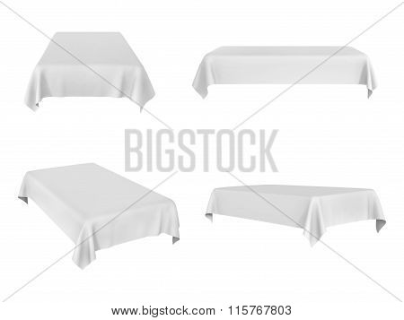 White Rectangular Tablecloth Set Isolated On White