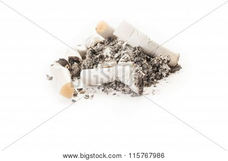 Dirty Smelly Cigarette Ash And Stumps Or Butts.