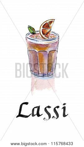 Lassi Is A Sweet Indian Drink, Consisting Of Beaten Yogurt. This Is Lassi With Red Orange.