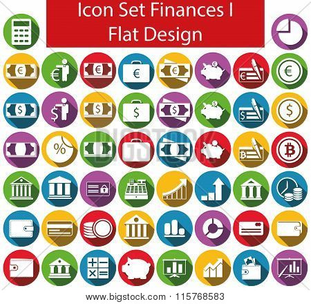 Flat Design Icon Set Finances I