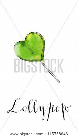 Colorful Lollypop. Green Heart. Candy. Love Concept. Sweet Love, Fun, Valentine's Day.