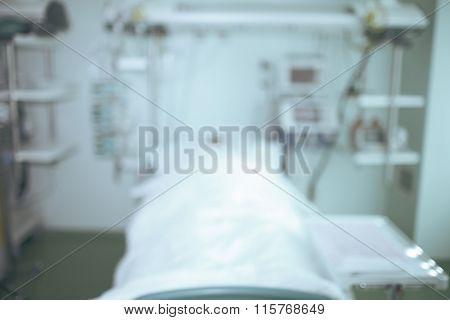 Medical Ward In Modern Hospital, Blurred Background