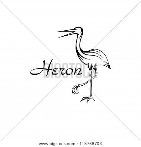Heron Bird In Outline Style