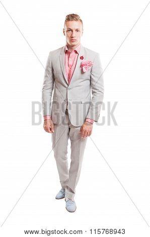 Blond Male Model Wearing Elegant Light Grey Suit.