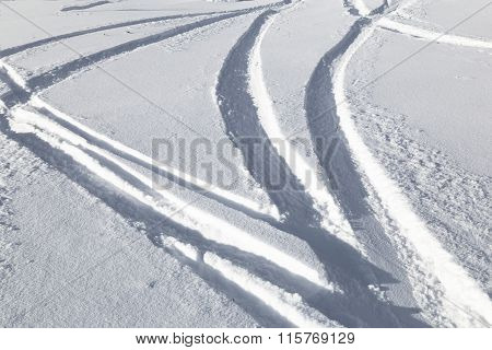 Traces From Skiing On  Snow .