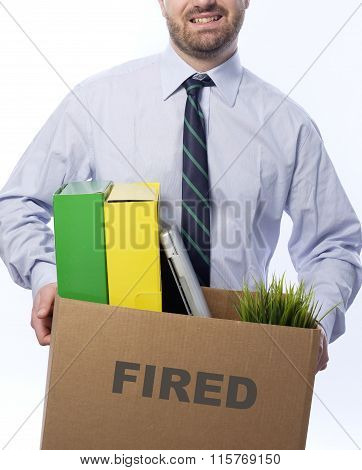 Fired Worker Portrait White Background