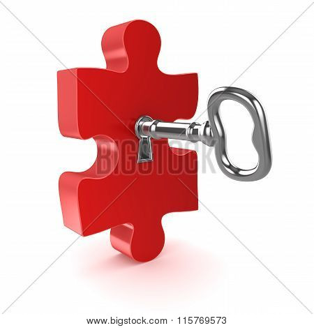 Old Key With Jigsaw Puzzle Piece