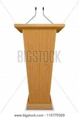 Wooden Tribune With Microphone Isolated On White Background