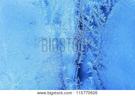 Beautiful Ice Pattern On Winter Glass